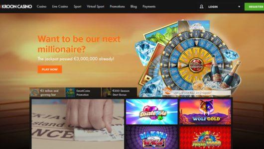 De responsive website van Kroon Casino
